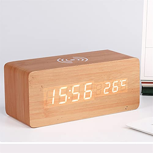 Yousiju Reloj Despertador LED con teléfono móvil Control de Sonido de Carga inalámbrico Reloj Digital electrónico 4 Color Radio Reloj (Color : C)