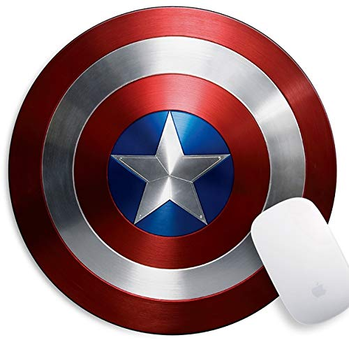 Gaming Mouse Pad , Personalized Design Rectangle and Round Mousemat Non-Slip Rubber Mouse Pads for Office Computers Laptops The Best Gift (Captain America Shield)