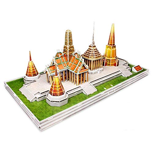 JJSFJH Tailandia Templo del Buda de Jade Edificio Modelo del Papel del Rompecabezas for Adultos Juguetes educativos del Castillo del Rompecabezas Juguetes educativos