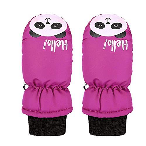 NEVRTP 1 Paar Kinder Skihandschuhe Handschuhe, wasserdichte Schneehandschuhe Winter warm Fleece gefütterte Handschuhe für Jungen Mädchen Alter 2-4 für Outdoor-Aktivitäten (A-Hot Pink, 3-5T)