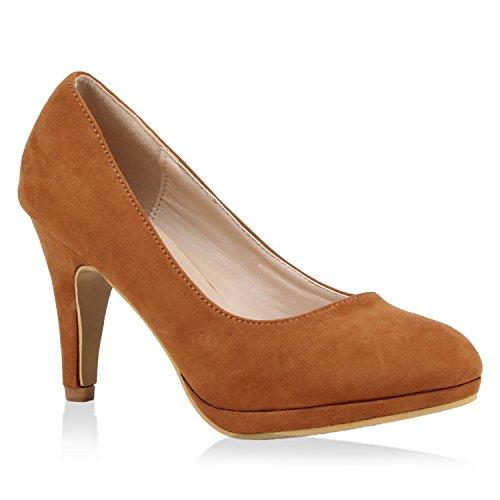 Klassische Damen Pumps High Heels Veloursoptik Schuhe 105173 Hellbraun 37 Flandell