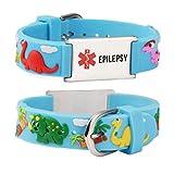 linnalove Cartoon Medical Alert id Epilepsy Bracelets Parents Gift to Son, Daughter, Brother, Sister-Dinosaur-Blue