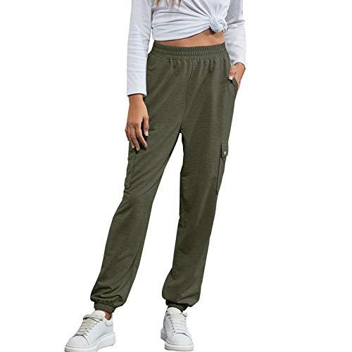 YANFANG Pantalones Casuales Deportivos Caseros De Color Puro con Cordones Moda para Mujer,Pantalones Ocio Casa Enlace Activo Mujer Moda,Pantalones Jogger CordóN AlgodóN CháNdal,Verde Caqui,L
