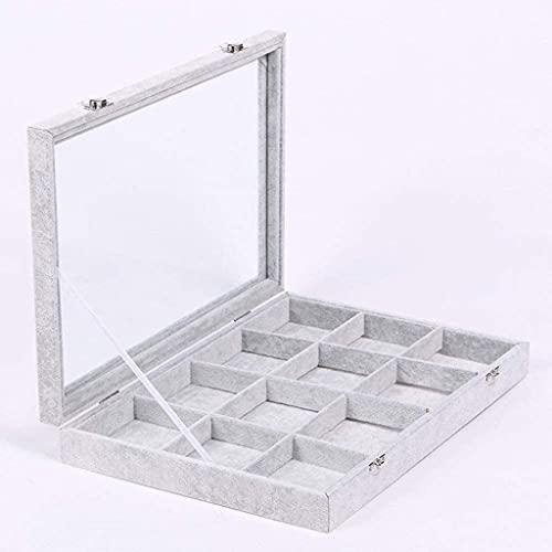 WHZG Caja joyero 12 Compartimentos Jewelry Box Showcase Pantalla Organizador, Bandeja de joyería Superior de Vidrio Grande con Tapa Organizador Joyas (Color : C)