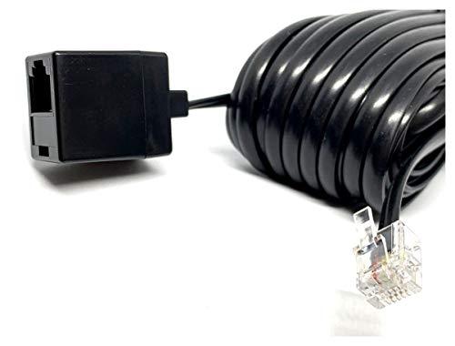MainCore RJ11 auf RJ11 Verlängerungskabel für ADSL, High-Speed-Internet-Breitband-Modem, Router, Telefon, BT-Kabel/Stecker zu Buchse 10m Schwarz