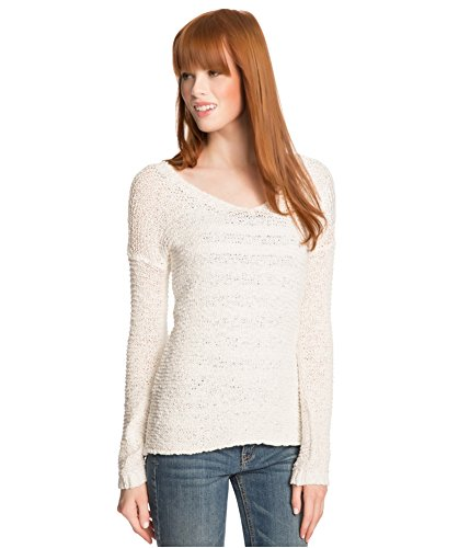 Aeropostale Womens Sheer Hi-Lo Knit Sweater, Off-White, X-Small