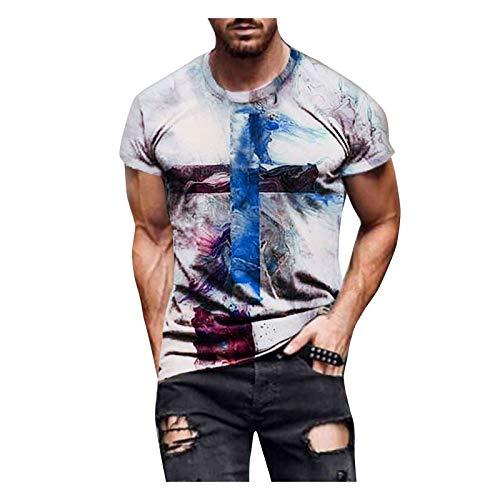 FUNEY Casual Shirts for Men Tie Dye Crewneck Short Sleeve T Shirts Vintage Oil Painting Faith Jesus Cross Print Tees Tops White