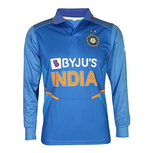 KD Cricket Indien Trikot Full Sleeve New BYJU Team Uniform 2020-21, Mädchen, Einfarbig, 46