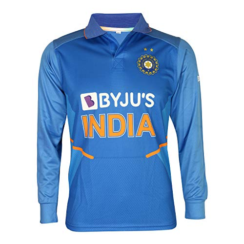 KD Cricket Indien Trikot Full Sleeve New BYJU Team Uniform 2020-21, Einfarbig, 36