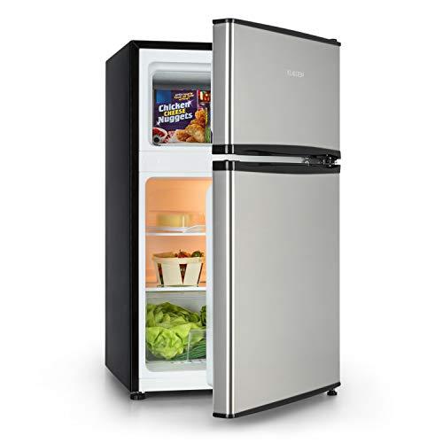 KLARSTEIN Big Daddy Cool - Combiné réfrigérateur-congélateur, Compartiment à bouteilles, Bac à légumes, Eclairage intérieur, Look moderne, Nettoyage facile, Pieds réglables en hauteur, 90L - Argent