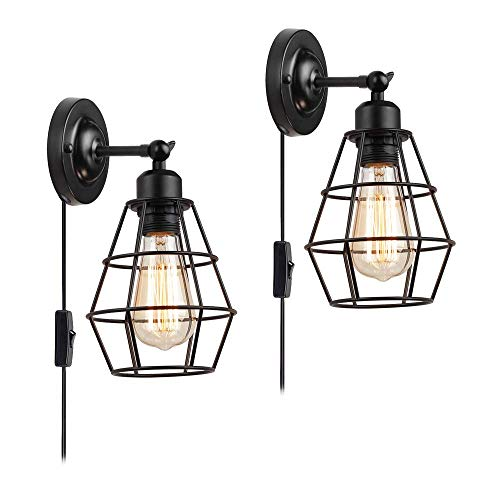 Wall Sconce 2 Pack, Pendant Light Industrial Wall Lamp with Plug in Cord and On Off Toggle Switch, Vintage Style E26 Base Metal Wall Light Fixture Industrial Rustic Ceiling Lamps