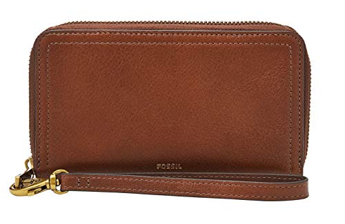 Fossil Womens Logan Zip Clutch, Brown, One Size