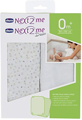 Chicco Next2Me Pair Fitted Crib Sheets, Light Grey