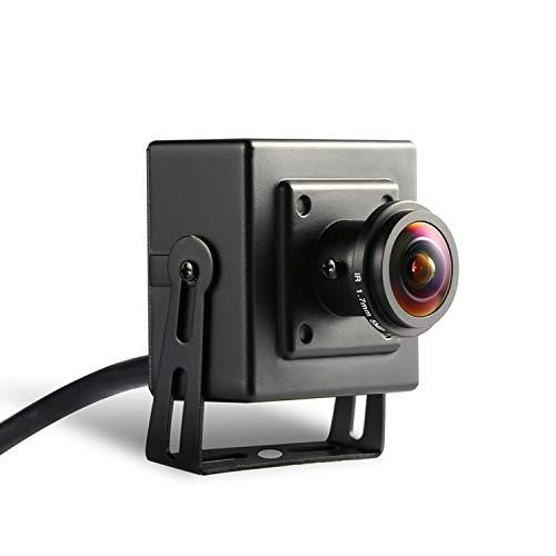 Fisheye HD 3MP Mini IP Kamera - Revotech® - H.265 2MP 1080P 1.7mm Linse Innenraum Metall Sicherheit Kamera ONVIF P2P CCTV Kamera System (I706-3 Schwarz)