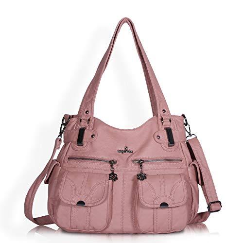 Women Handbags Shoulder Bags Washed Leather Satchel Tote Bag Mutipocket Purse (5739 Pink)