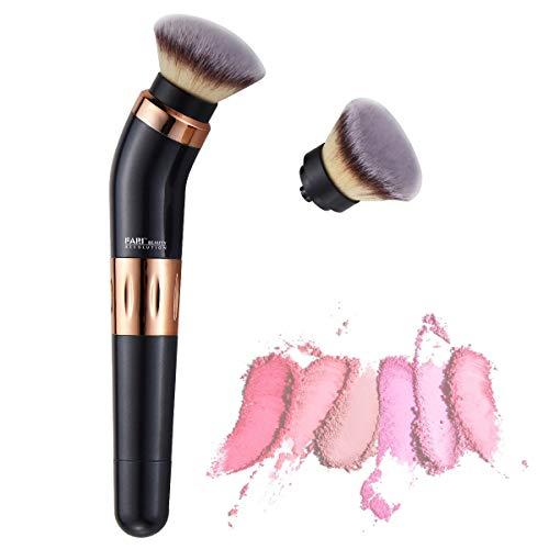 Pinceau de maquillage rotatif électrique FARI, pinceau cosmétique rotatif à 360 degrés avec fond de teint synthétique de qualité supérieure et têtes blush (FR-8030)
