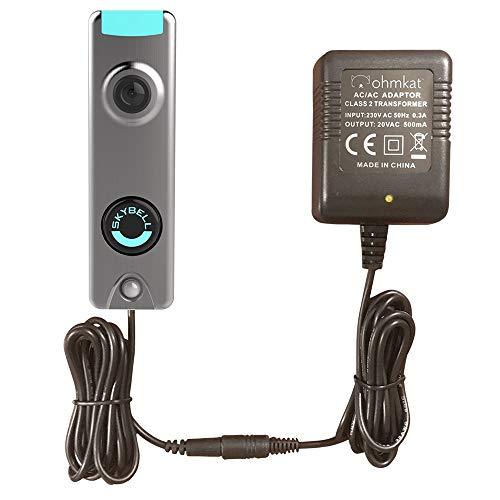 OhmKat Netzteil für Videotürklingel - Kompatibel mit Skybell-Videotürklingeln - Keine vorhandene Verkabelung erforderlich - Alles in einem - 230-V-C-Typ-Eu-Stecker