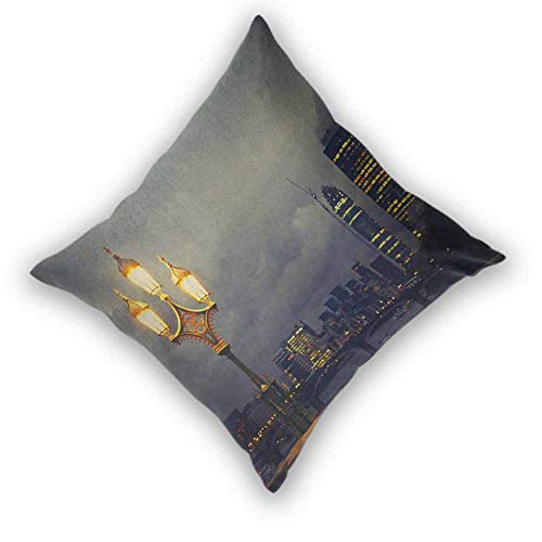 YOFUHOME Night Square Cushion Case, Westminster Bridge London City UK Stormy Moody Weather European Urban Travel Colorful Decorative Couch for Couch/Bed/Sofa, W22 xL22 Pale Grey Yellow