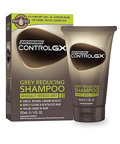 Just For Men Control GX Grey Reducing Shampoo, Gradually Colors Hair, Gently Cleans and Revitalizes for Stronger and Healthier Hair, 4 Fl Oz - Pack of 1