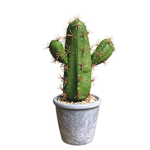 Flikool Kaktus Sukkulenten Künstlich im Topf Fälschung Kunstpflanze Bonsai Pflanzen Künstliche Blumen Dekorative Kunstblumen für Zuhause Balkon Dekor (Schaum Kaktus+Melamin Kunststoff Pot) - 2