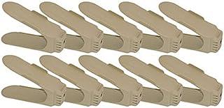 JHGJ Shoe Slots Space Saving Shoe Organizer Shoe Rack (10 Pack-Khaki)