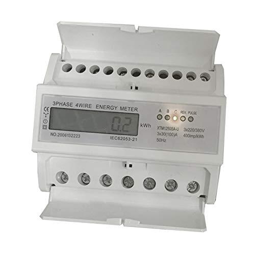JVJ digitaler Stromzähler3 phasen Drehstromzähler Wattmeter für DIN Hutschiene 220/380V 3x30(100) A LCD elektronisch Energiezähler