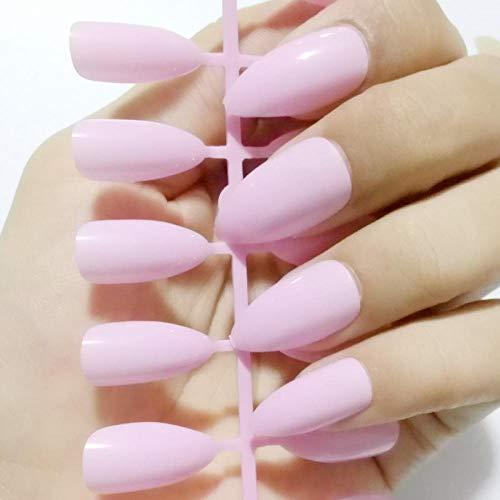 Wangguifu 24Pcs New Shiny False High Heel Nagelspitzen Princess Pink False Nagelspitzen Press Manicure Salon Produkte