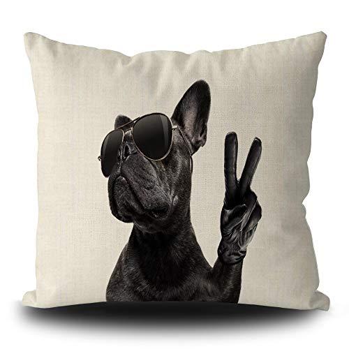 SVITFAMLI Throw Pillow Cover Cool Posing French Bulldog with Sunglasses Cushion Case Peace Victory Print Decorative 18 X 18 Inch Linen Pillowcase