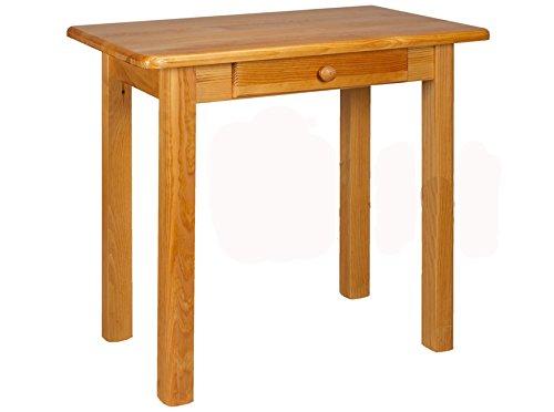 Esstisch mit Schublade Küchentisch Tisch Kiefer massiv Restaurant Neu 100 x 60 cm (Erle)