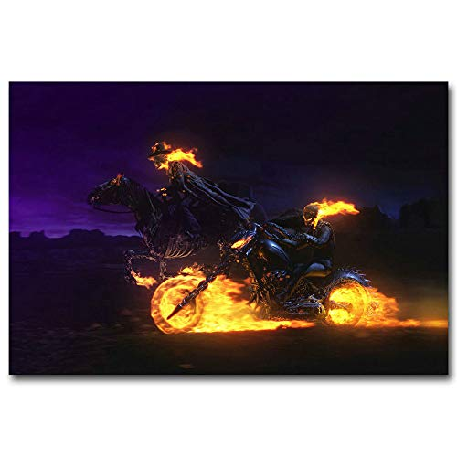 Artwcm Ghost Rider Spirit Of Vengeance Oil Paintings Modern Canvas Prints Artwork Printed on Canvas Wall Art for Home Office Decorations-600 (Unframed,16x24inch)
