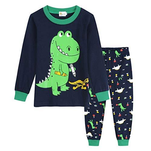 xuefoo Pigiama da bambino, 2 pezzi, con motivo dinosauro, scavatore, a maniche lunghe, set pigiama per bambini, dinosauro, 7-8 Anni