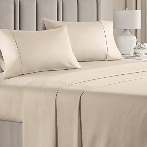 "Cooling Cotton Bed Sheets - 4pc Set - Soft & Smooth Sateen Sheets - Deep Pocket Sheets - Fits up to 16"" Mattresses – All Cotton Sheet Set - Soft..."