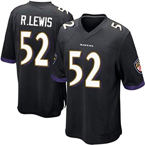 # 52 Ray Lewis Baltimore American Football-Fans der Raven-Männer Casual Sports Jersey Bestickt Eng anliegendes schnell trocknendes T-Shirt-Black-S(165-176cm)
