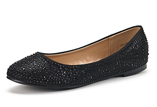 DREAM PAIRS Women's Sole-Shine Black Rhinestone Ballet Flats Shoes - 5 M US