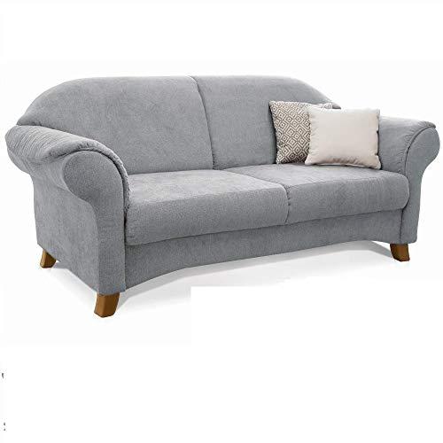 Cavadore 2-Sitzer Sofa Maifayr mit Federkern / Moderne 2-sitzige Couch im Landhausstil mit Holzfüßen / 164 x 90 x 90 / hellgrau