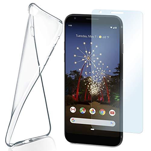 MoEx Funda de Silicona Compatible con Google Pixel 3a XL [360 Grados] Protector de Pantalla de Cristal con Tapa Trasera Transparente para teléfonos móviles Compatible con Google Pixel-3a XL