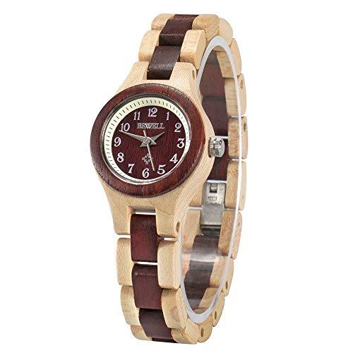 BEWELL Handgemachte Natürliche Hölzerne Uhren Für Damen Mode Uhr Analog Quarzwerk Armbanduhr Casual Stil für Frauen mit Hölzerne Armband