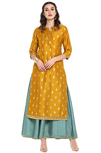 Janasya Indian Women's Mustard Poly Silk Ethnic Dress(J0006-SET-XXL)