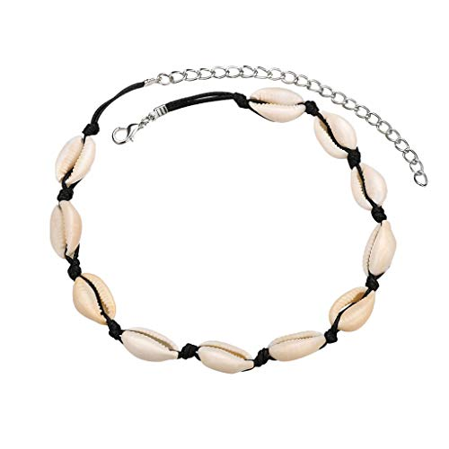 Cowrie Shell Choker Necklace for Women Girls, Tuscom Cowrie Shell Boho Necklace Statement Adjustable Seashell Pendant Cord Bib Collar Necklace Handmade Rope Cord Hawaiian Beach Jewelry (Black)