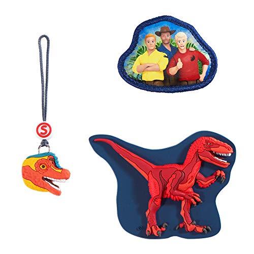 Step by Step Magic Mags Schleich® Dinosaurs Velociraptor 3 pezzi 2 applicazioni magnetiche e 1 ciondolo, accessorio per la scuola o lo zaino prescolare per bambini