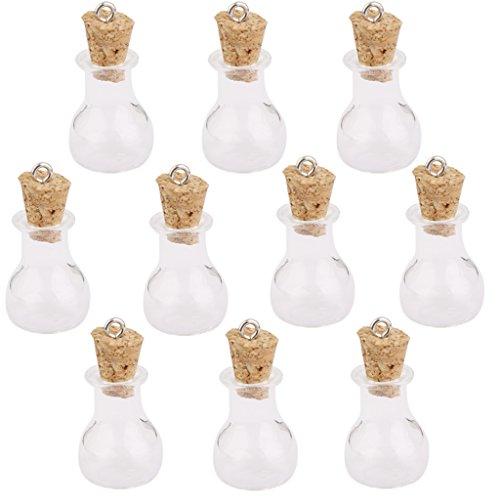 10 Stk. Glaskorken Flaschen Gläser Fläschchen Wunsch Flaschen Anhänger Mit Flache Kolbenform