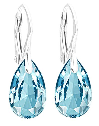 GIFT BOXED! Ah! Jewellery Ladies 16mm Eye Catching Aquamarine Pear Crystals From Swarovski Earrings. Solid Sterling Silver Easy To Use Leverbacks. Stamped 925. Total Weight 3gr.