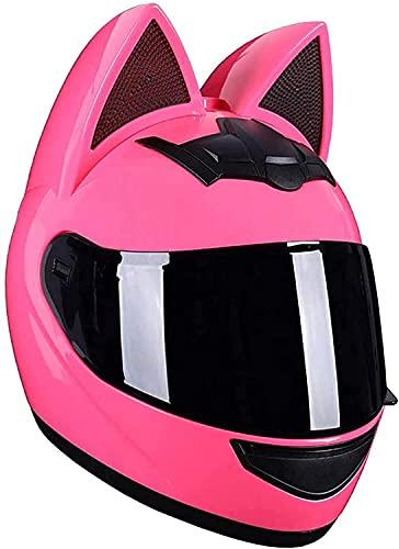 WANGFENG Cascos de cara completa para mujer, orejas de gato, casco de motocicleta, casco de caballero, ATV Crash Scooter, visera abatible, cascos modulares con certificación DOT A, XL