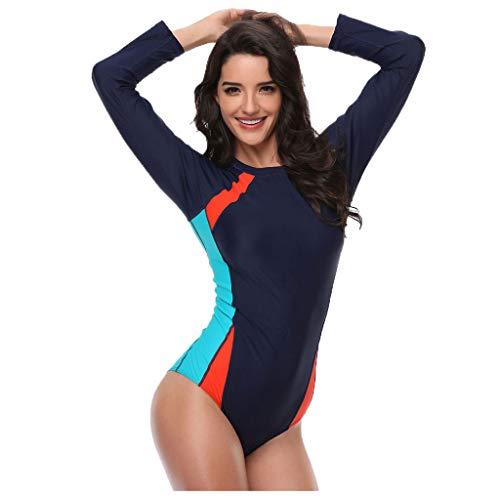 duquanxinquan Badeanzüge Einteiliger Langarm Tauchanzug Neoprenanzug Übergröße Wetsuit High Stretch Schnorchelkleidung für Damen L-4XL