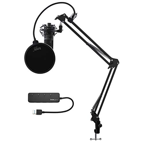 Audio-Technica AT2020USBPLUS USB Microphone Bundled with Knox Gear USB Hub, Boom Arm, Shock Mount and Pop Filter (5 Items)