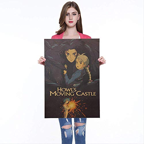 Klassische Anime Howl Moving Castle Vintage Poster Cafe Bars Küche Dekor Kraftpapier Poster Poster Retro Wandaufkleber 50x35cm
