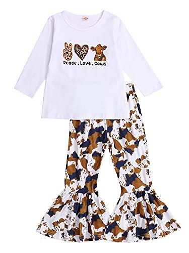 ZZLBUF Conjunto de polainas de manga larga con estampado de vaca y pantalones acampanados para niña, blanco, 3-4 Años