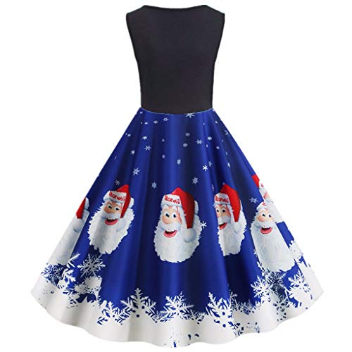 TEELONG Kleider Damen Weinlese-Frohe Weihnacht-Druck-Hausfrau-Abend-Party-ärmelloses Kleid Ballkleid Partykleid Cocktailkleid(S, Blau)