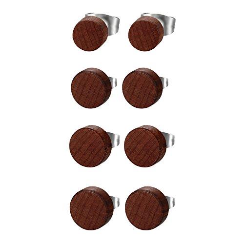 JewelryWe Schmuck 4 Paare Herren Damen Ohrstecker, Edelstahl Holz Runde Ohrringe Piercing, Braun, 6mm-12mm