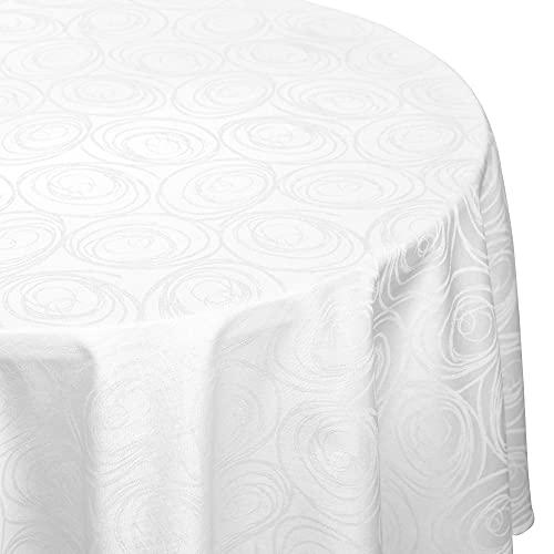 Nappe ovale 180x240 cm Jacquard 100% coton SPIRALE blanc